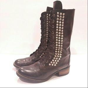 Black studded boots women's tropadour